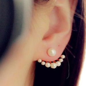 New Simulated Pearl Statement Stud Earrings
